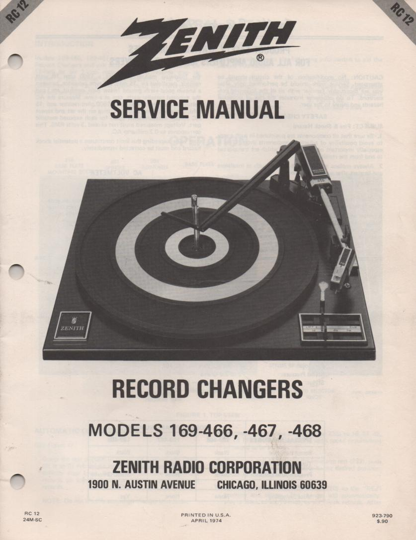 169-466 169-467 169-468 Turntable Service Manual RC12