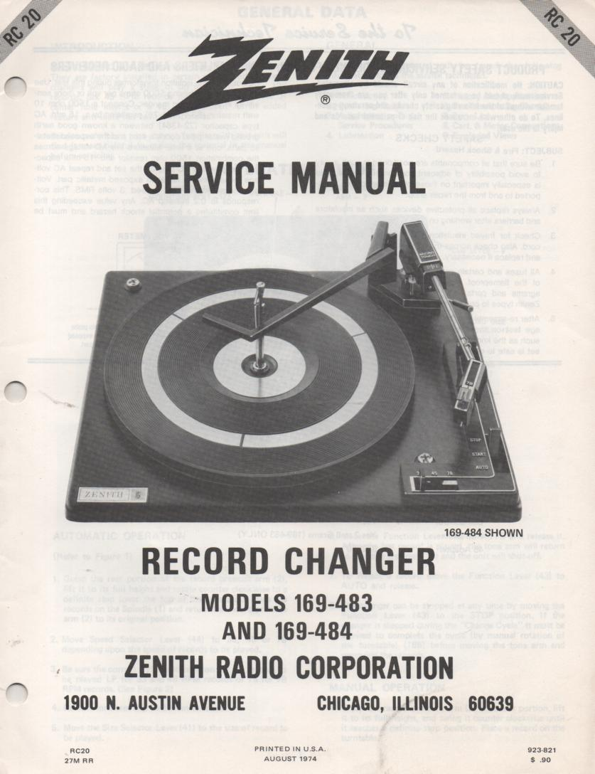 169-511 169-512 169-513 Turntable Service Manual RC-20