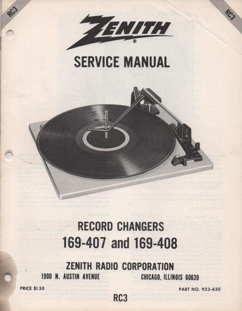 169-407 169-408 Turntable Service Manual RC-3