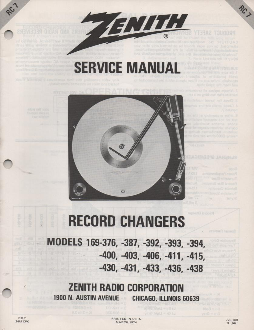 169-376 169-387 169-392 169-393 169-394 Record Changer Turntable Service Manual RC-7