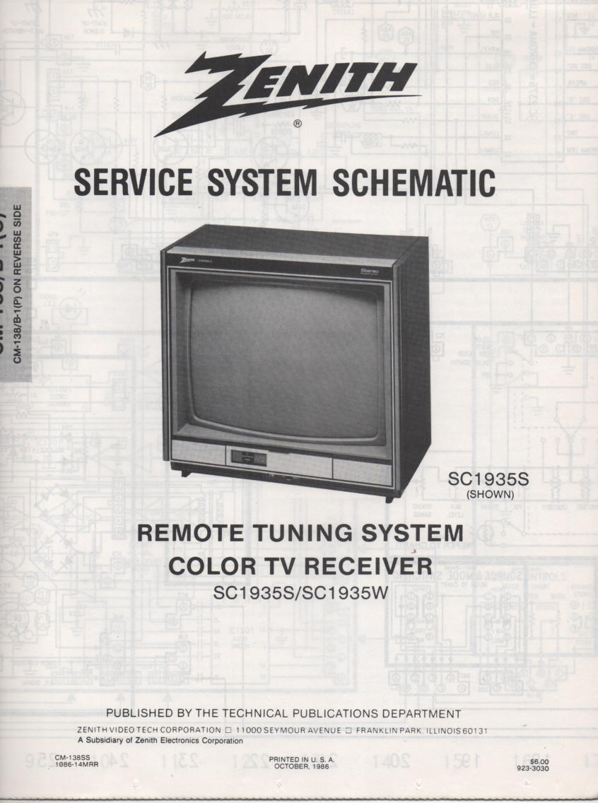 SC1935W TV Schematic ..  SC1935S Manual