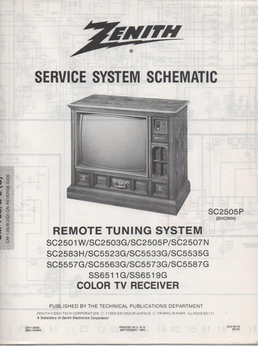 SC2503G TV Schematic .. SC2501W Manual
