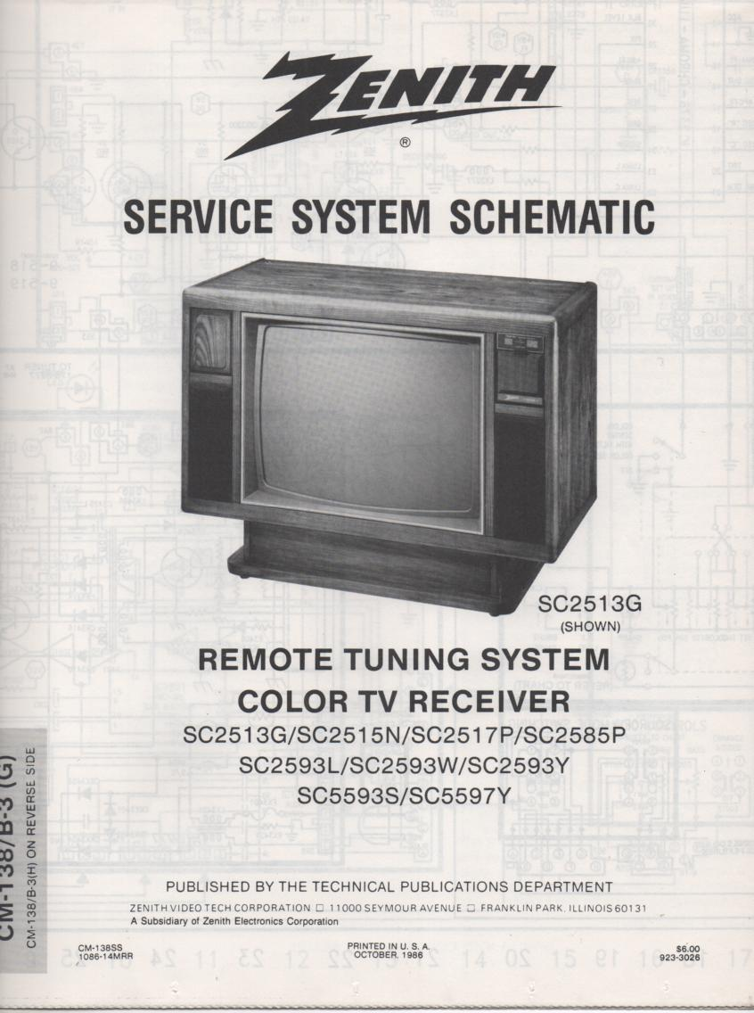 SC2593L TV Schematic ..  SC2513G Manual