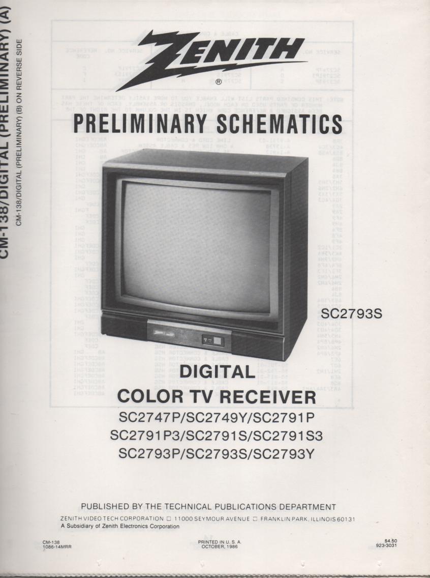 SC2791S3 TV Schematic ..  SC2747P Manual