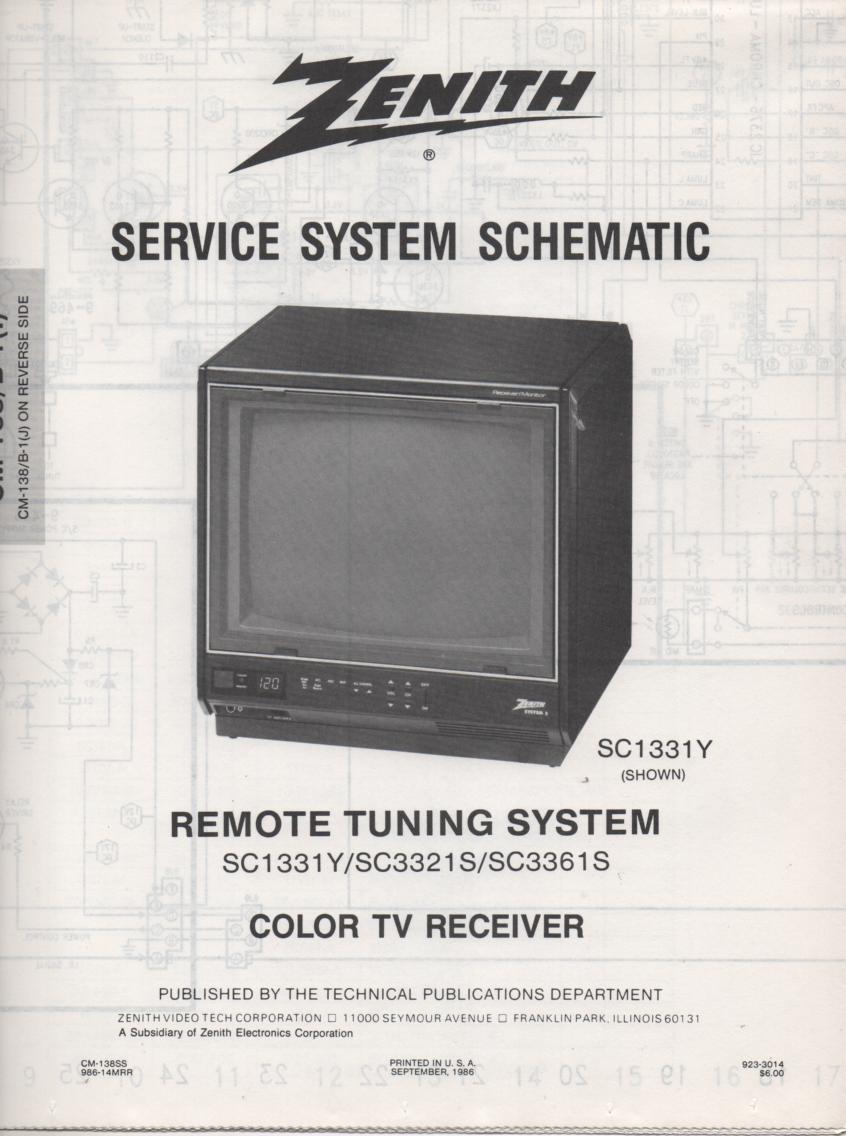 SC3321S TV Schematic ..  SC1331Y Manual