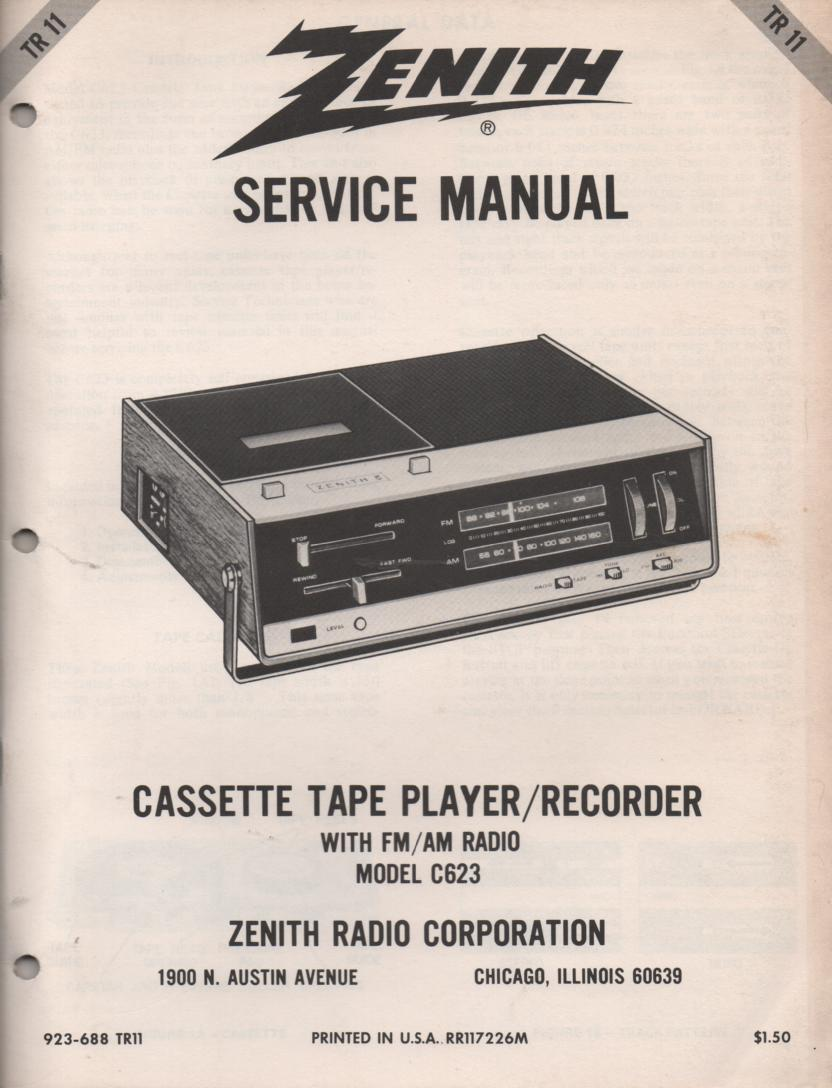 C623 Cassette Recorder Player Service Manual TR11