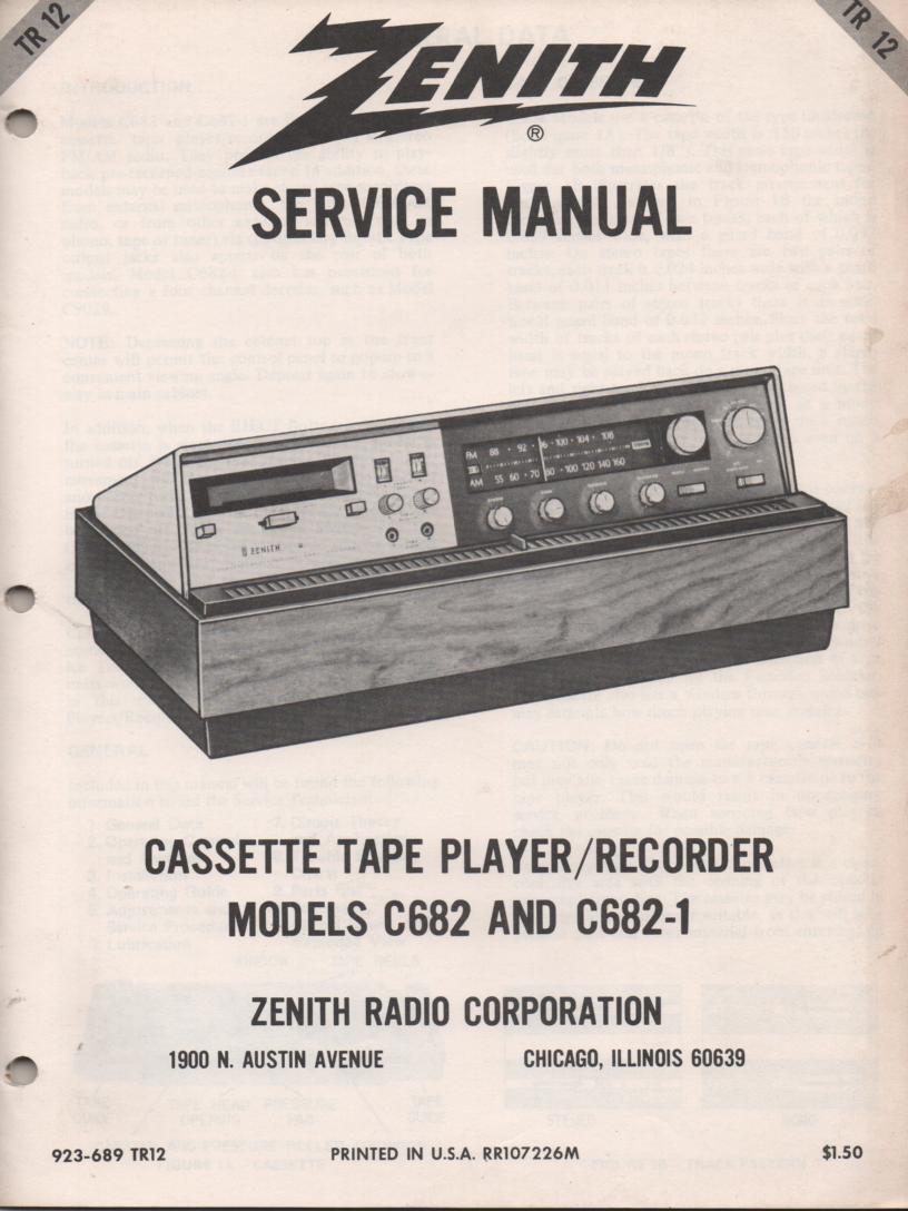 C682 C682-01 Radio Cassette Recorder Player Service Manual TR12