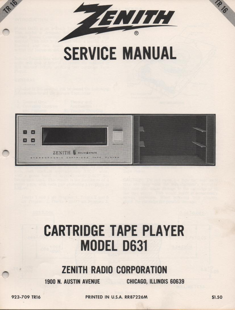 D631 8-Track Tape Player Service Manual TR16