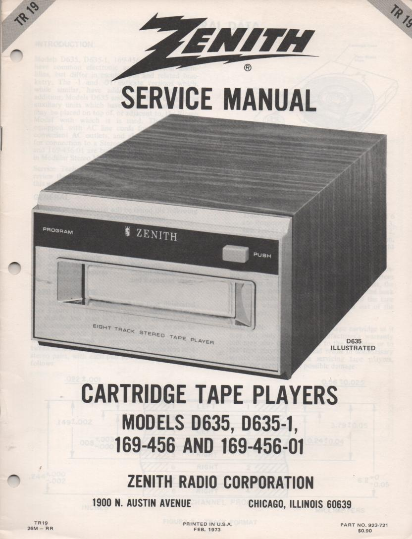 D635 D635-1 169-456 169-456-01 8-Track Tape Player Service Manual TR19