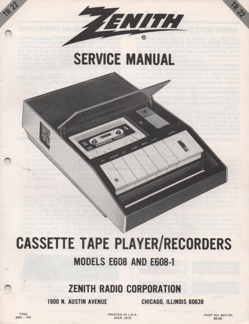 E608 E608-1 Cassette Tape Recorder Player Service Manual TR22