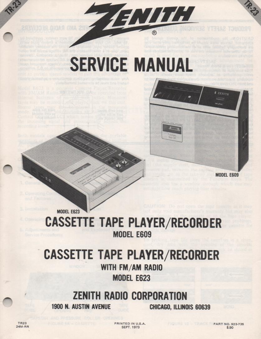 E609 E623 Cassette Tape Player Recorder Service Manual TR23