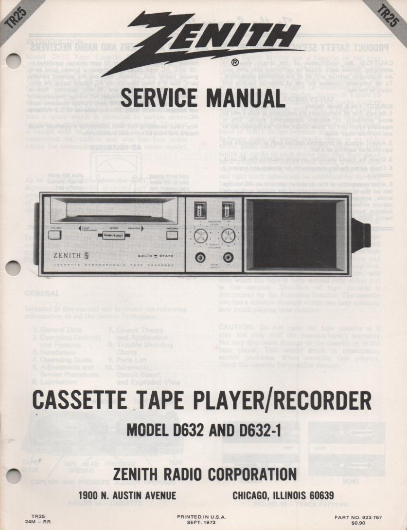 D632 D632-1 Cassette Tape Recorder Player Service Manual TR25