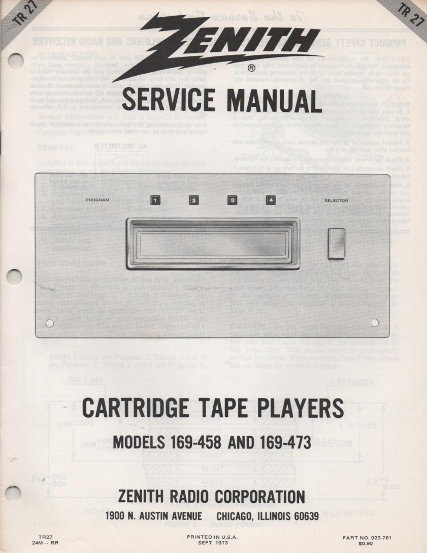 169-458 169-473 8-Track Tape Player Service Manual TR27