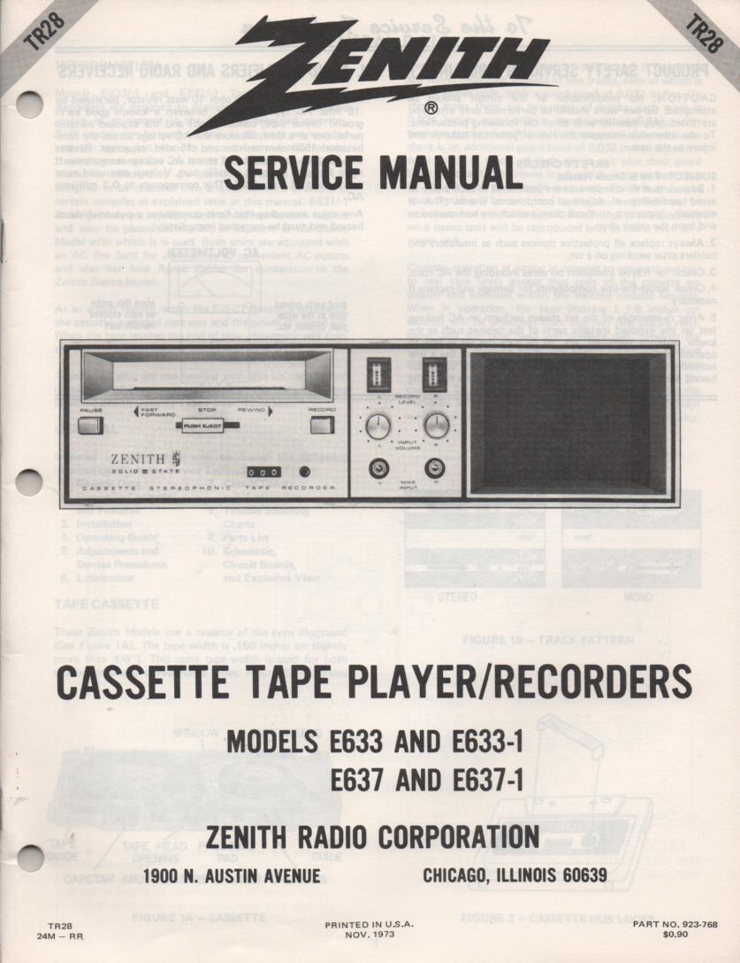 E633 E633-1 E637 E637-1 Cassette Tape Player Recorder Service Manual TR28
