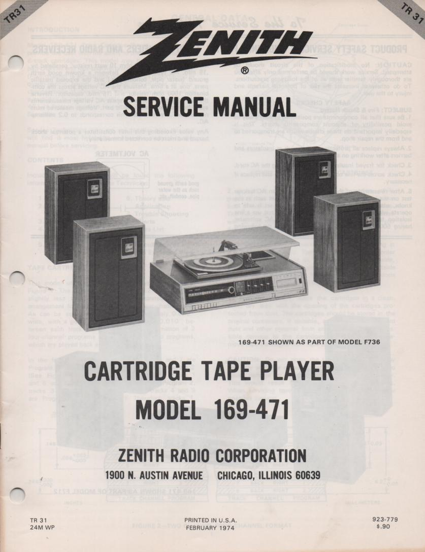 169-471 8-Track Tape Player Service Manual TR31