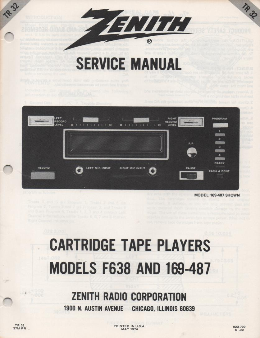 F638 169-487 8-Track Tape Player Recorder Service Manual TR32