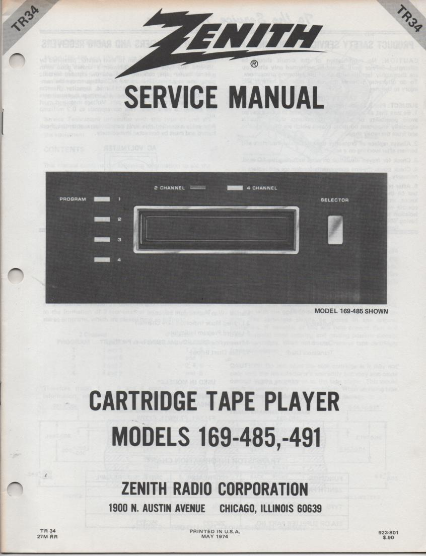 169-485 169-491 8-Track Tape Player Service Manual TR34