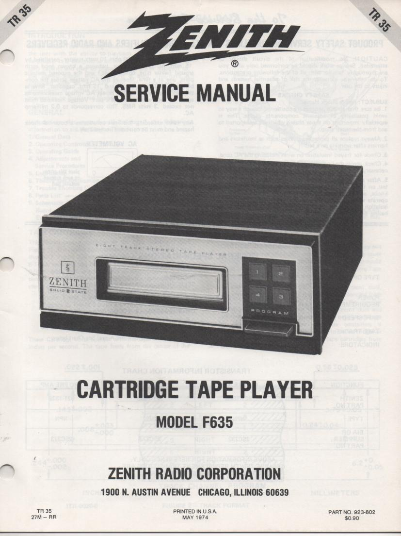 F635 8-Track Tape Player Service Manual TR35