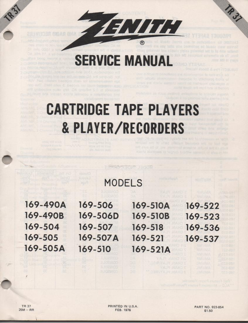 169-490A 169-490B 169-504 169-505 169-505A 8-Track Player Recorder Service Manual TR37
