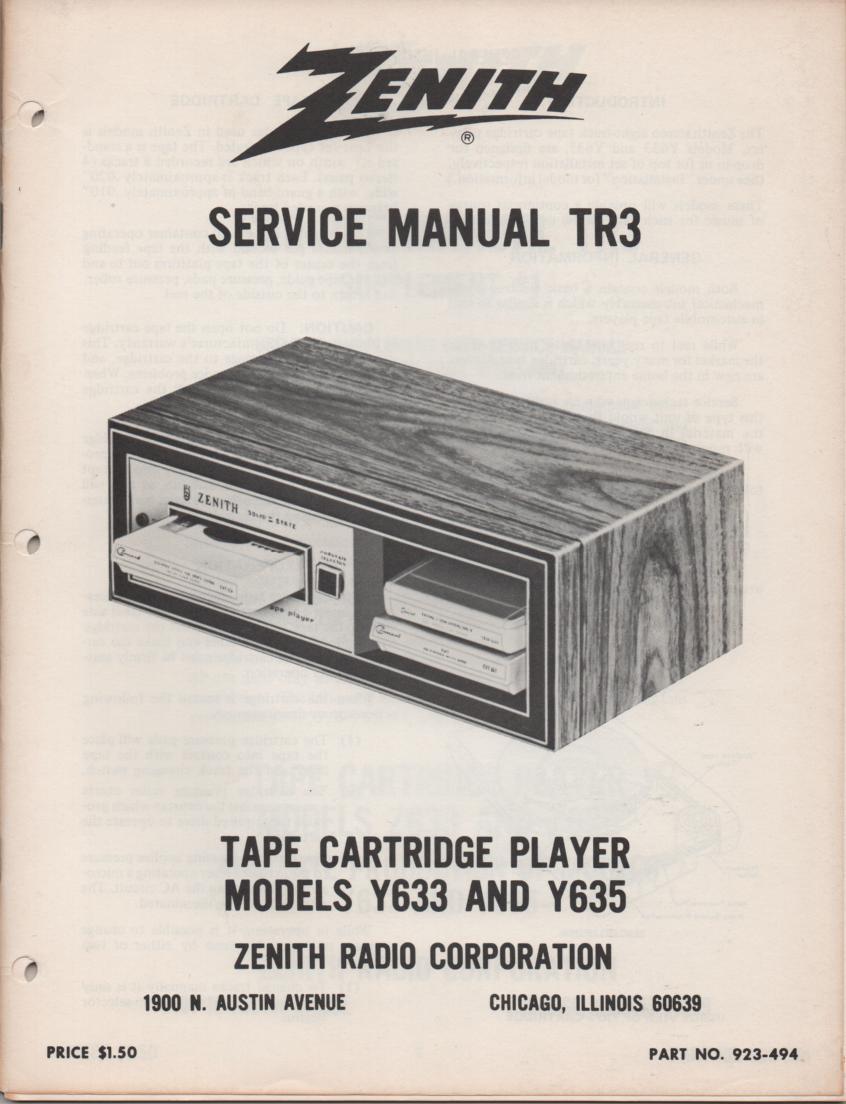 Y633 Y635 8-Track Player Service Manual TR3