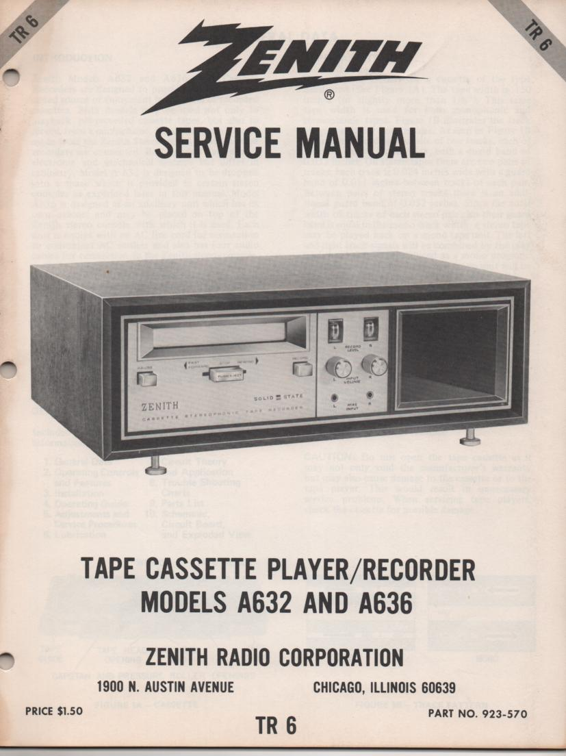 A632 A636 Cassette Player Recorder Service Manual TR6