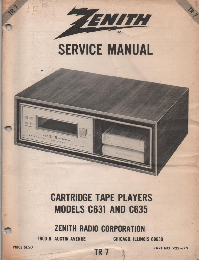 C631 C635 8-Track Tape Player Service Manual TR7