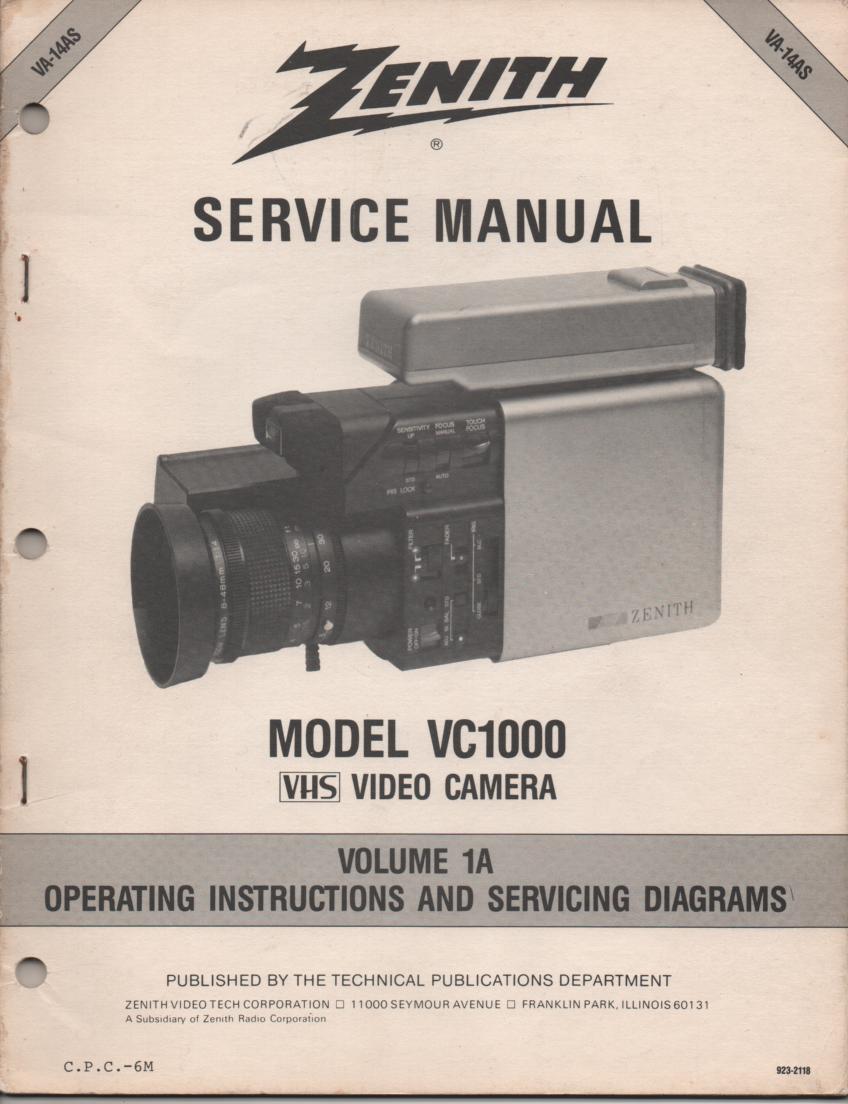 VC1000 Camcorder Operating Instruction Manual. VA14AS-1