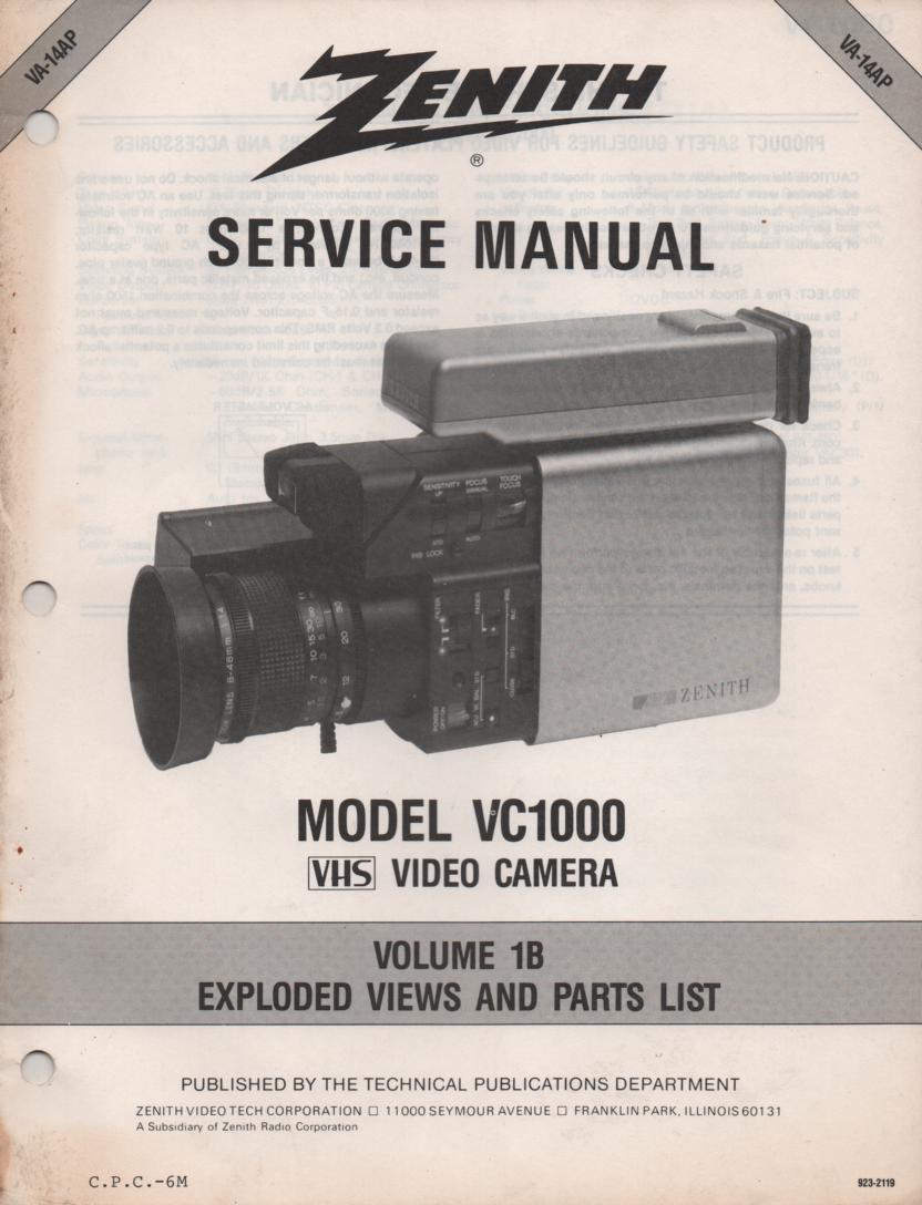 VC1000 Camcorder Exploded Views and Parts Service Manual VA14P..