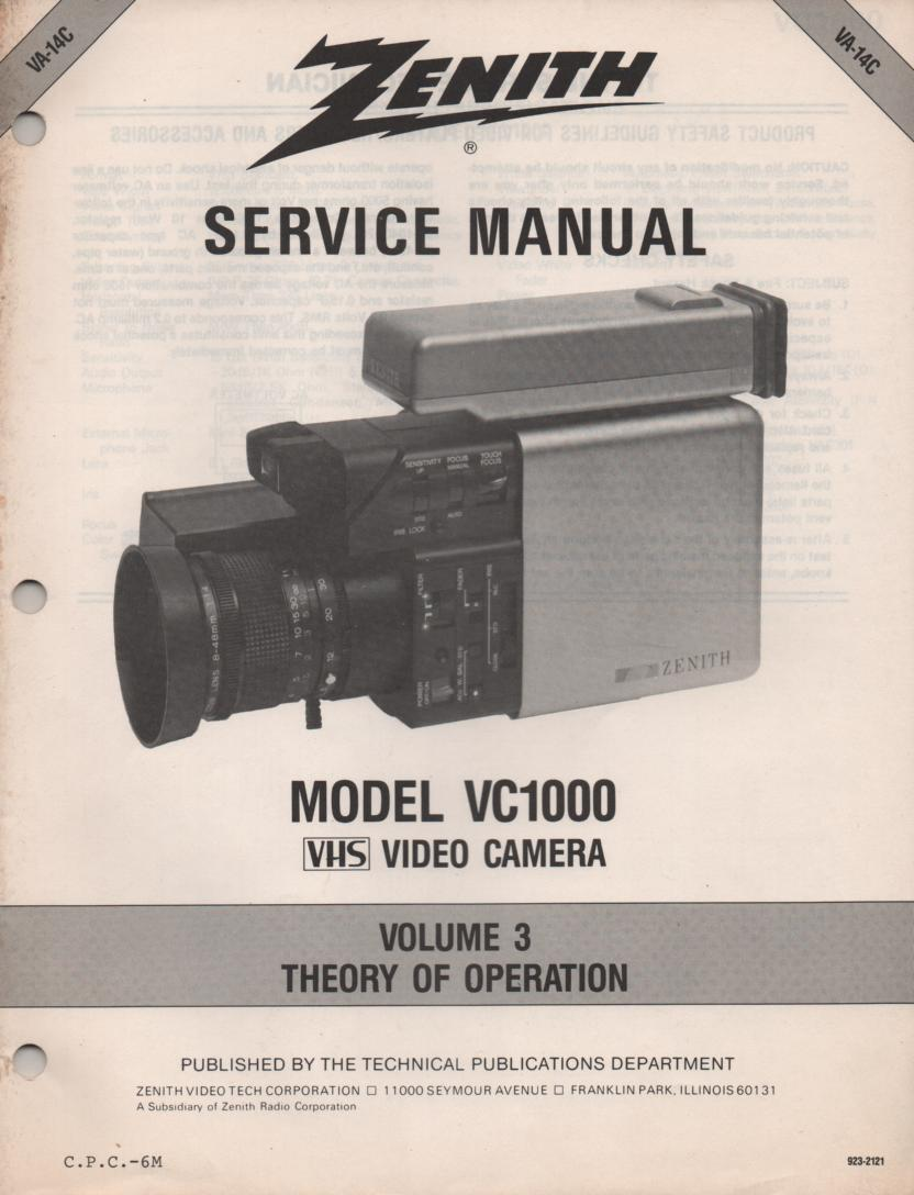 VC1000 Camcorder Theory of Operation Service Manual VA14C..
