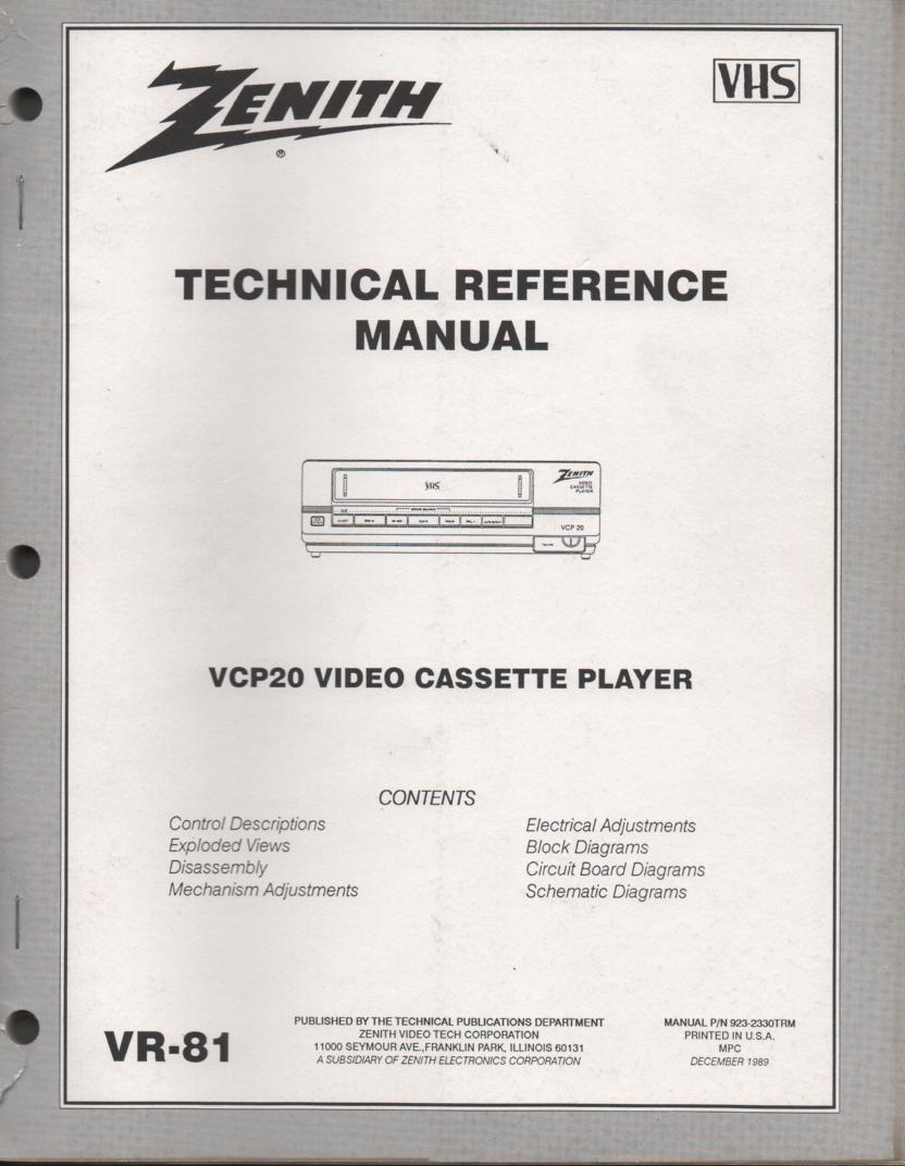 Zenith VCP20 VCR Technical Reference Manual...  Manual VR-81
