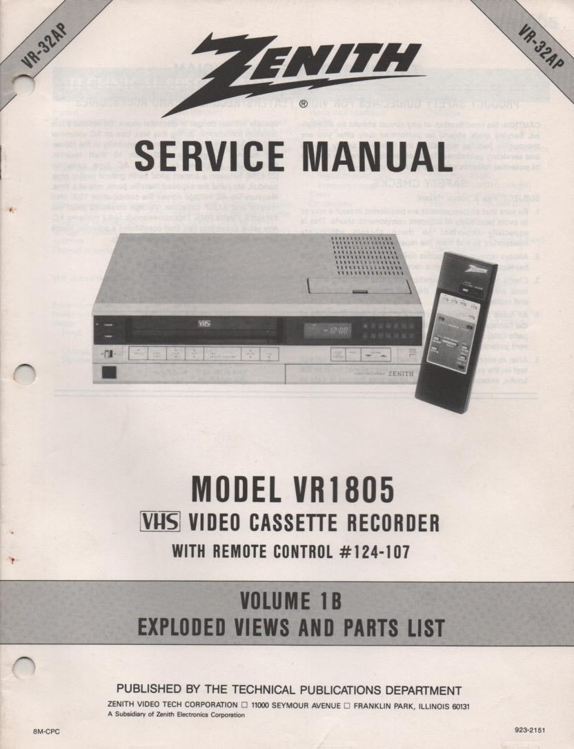 VR1805 VCR Exploded Views and Parts Service Manual VR32AP