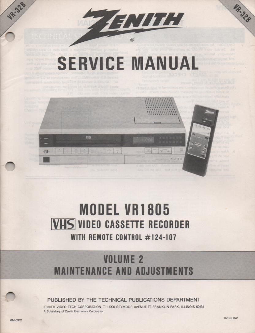 VR1805 VCR Alignment Service Manual VR32B