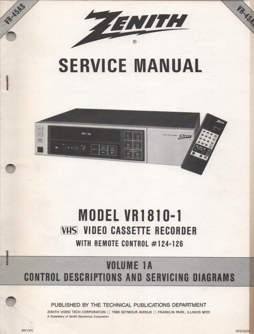 VR1810-1 VCR Control Descriptions Service Diagram Manual VR45AS
