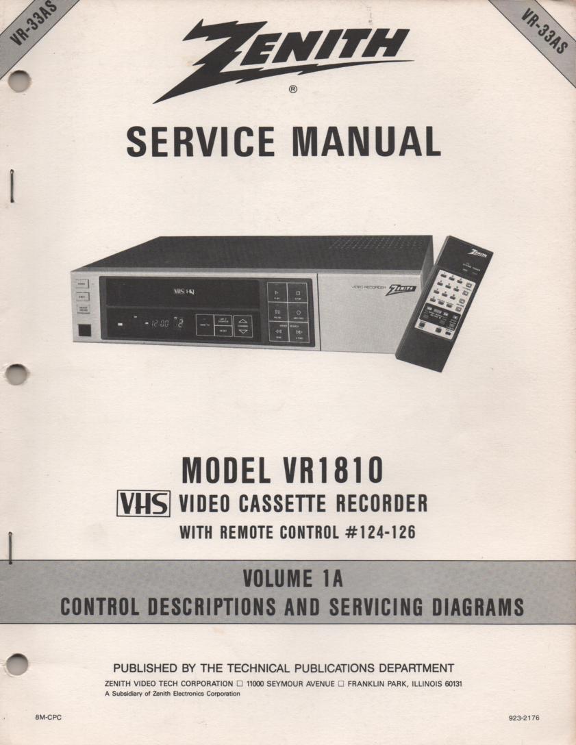 VR1810 VCR Control Descriptions Service Diagram Manual VR33AS