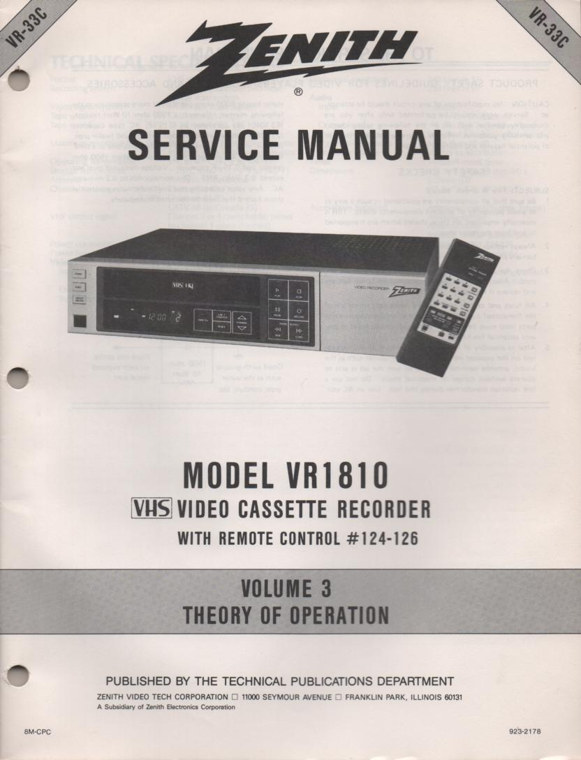 VR1810 VCR Theory of Operation Technical Service Manual VR33C. This is not an owners manual..