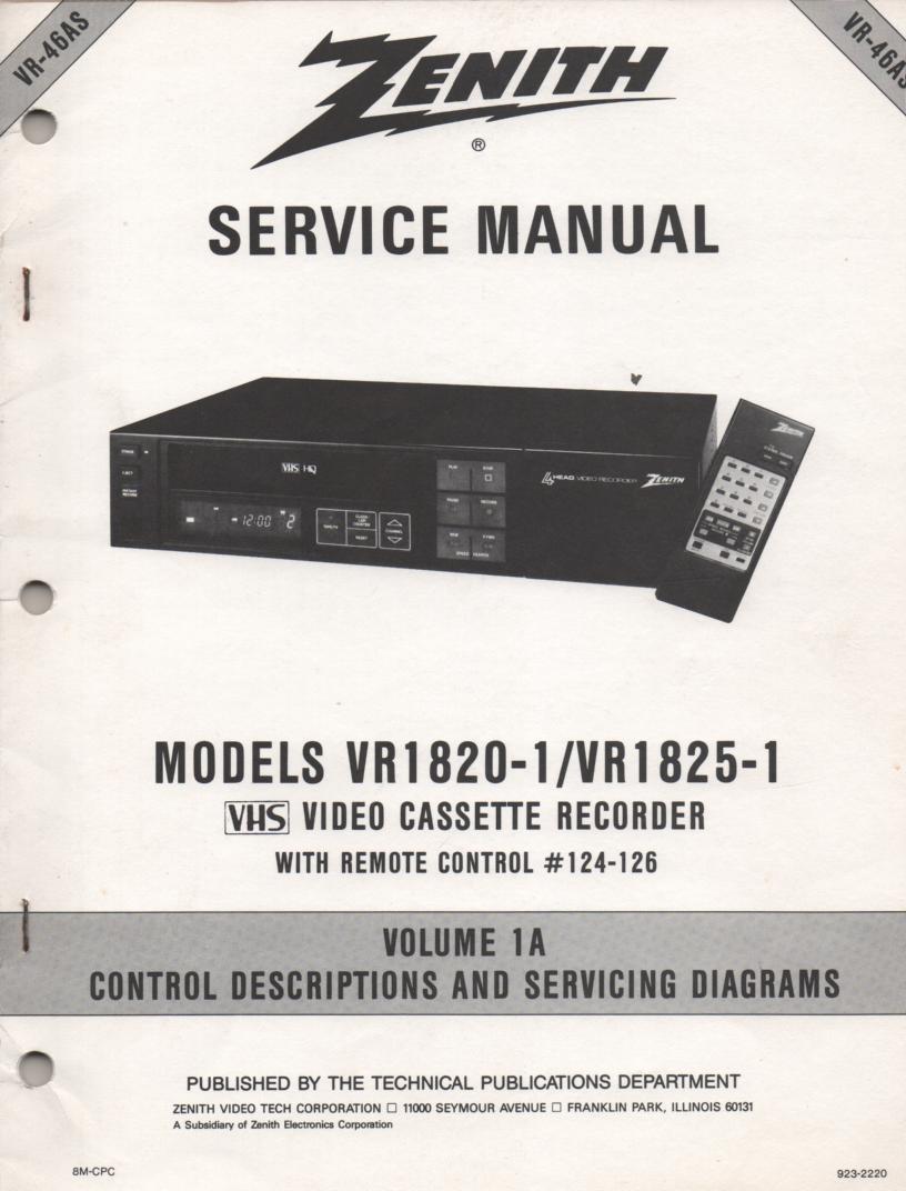 VR1820-1 VR1825-1 VCR Control Descriptions Service Diagram Manual VR46AS