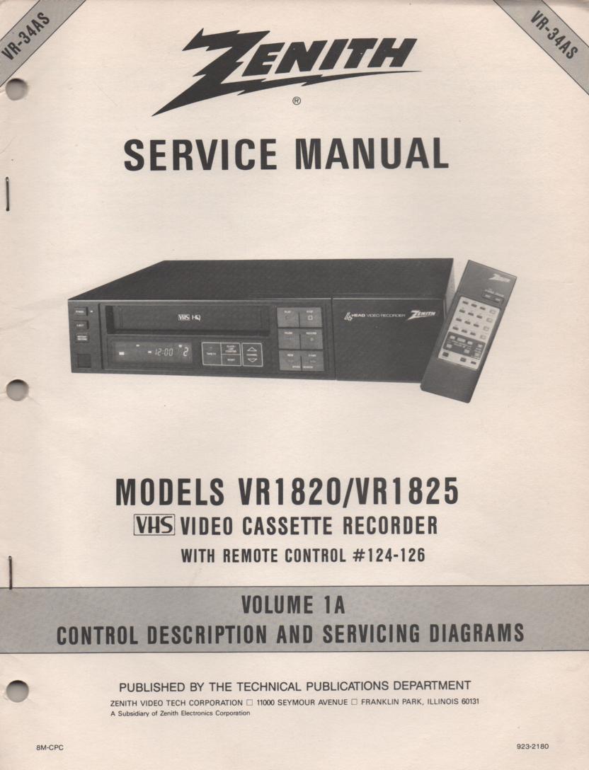VR1820 VR1825 VCR Control Descriptions Service Diagram Manual VR34AS
