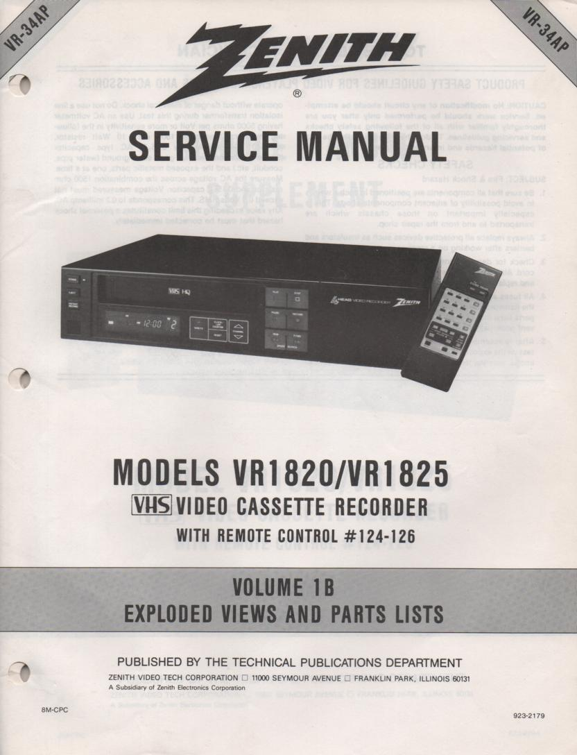 VR1820 VR1825 VCR Exploded Views and Parts Service Manual VR34AP