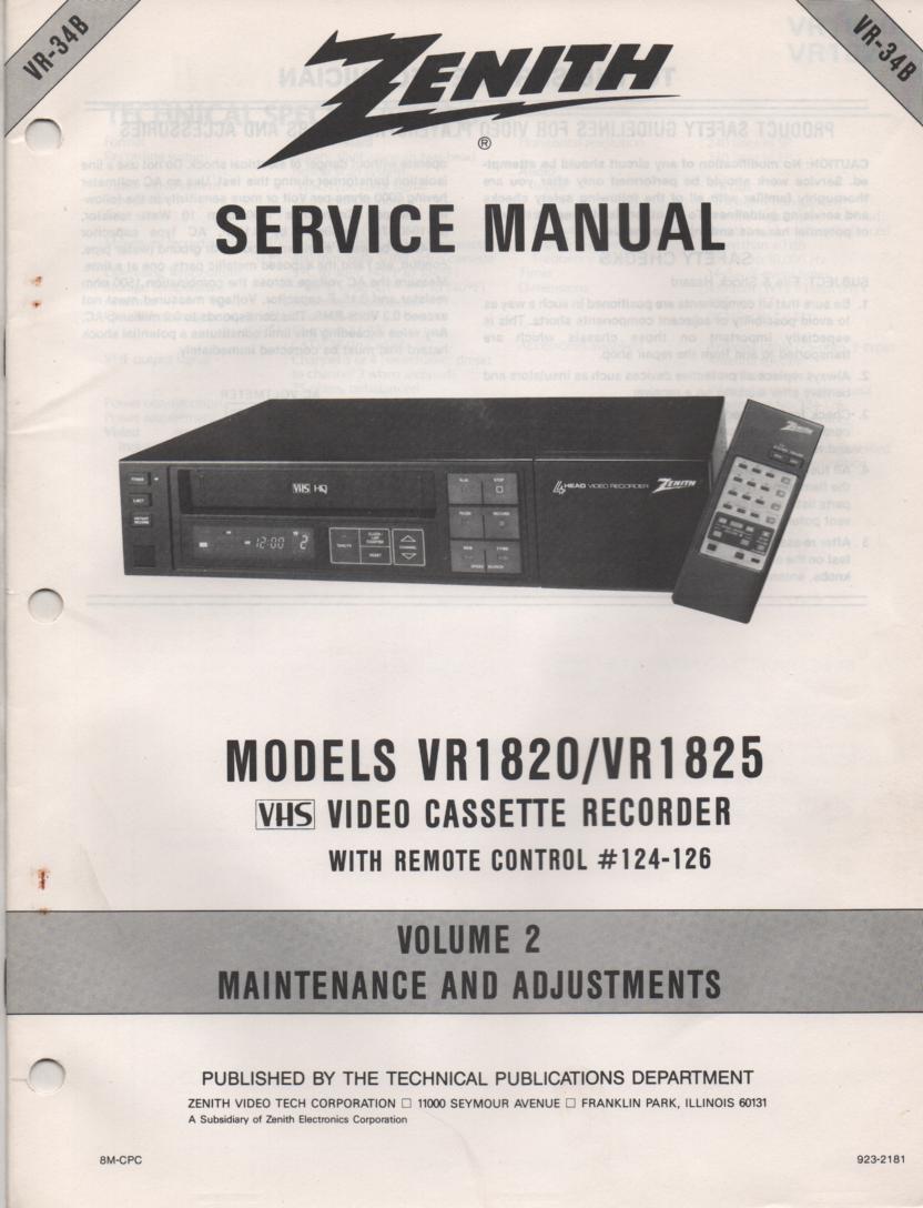VR1820 VR1825 VCR Alignment Service Manual VR34B