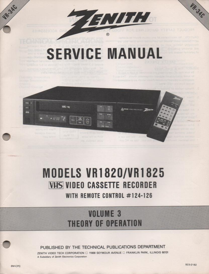 VR1820 VR1825 VCR Theory of Operation Technical Service Manual VR34C  This is not an owners manual..