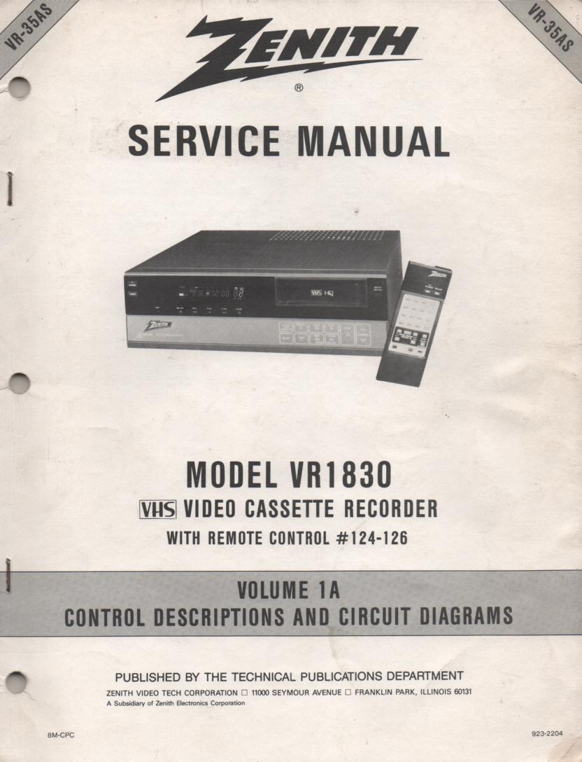 VR1830 VCR Control Descriptions Service Diagram Manual VR35AS
