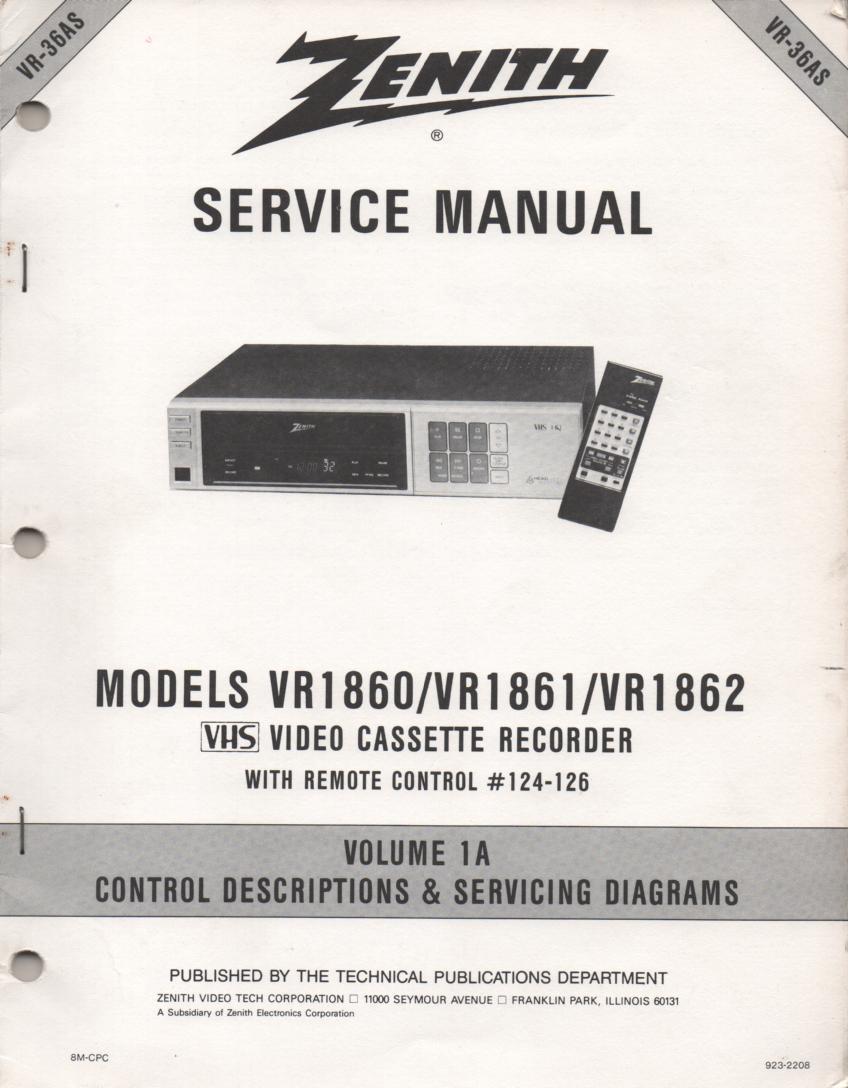 VR1860 VR1861 VR1862 VCR Control Descriptions Service Diagram Manual VR36AS