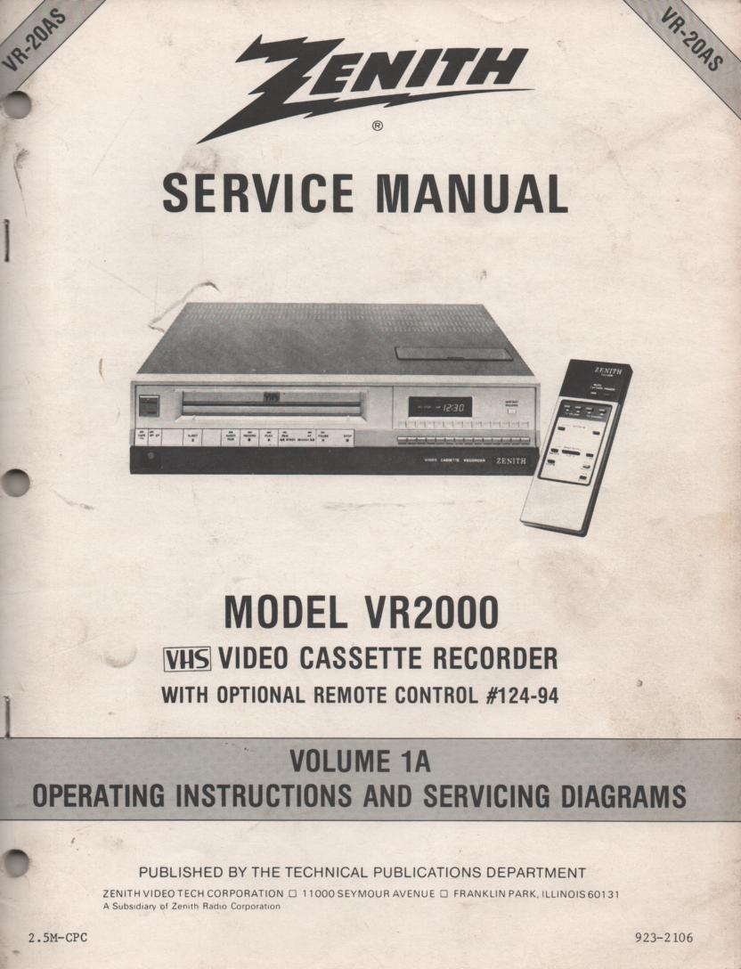 VR2000 VCR Operating Instruction Manual VR20AS.. Front section of service manual is the owners manual..