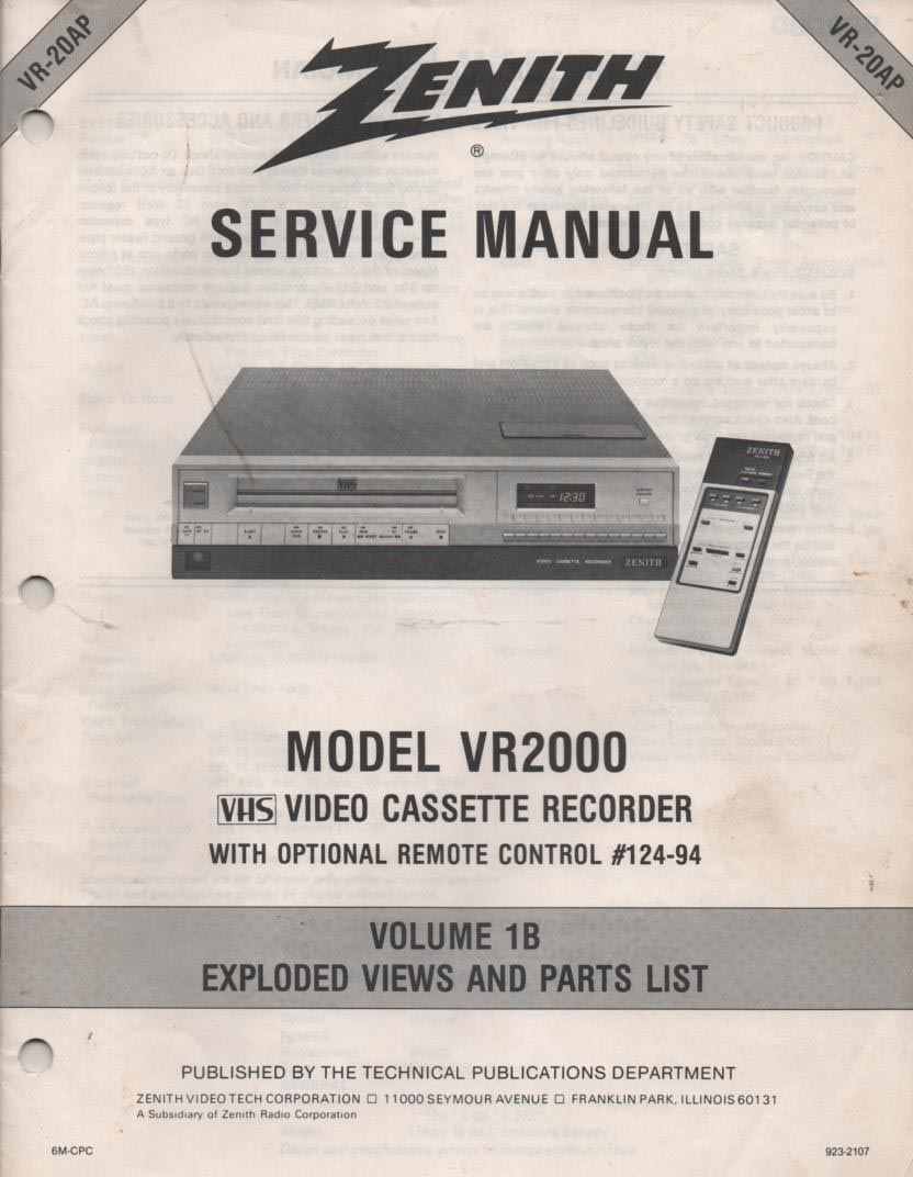 VR2000 VCR Exploded Views and Parts Service Manual VR20AP