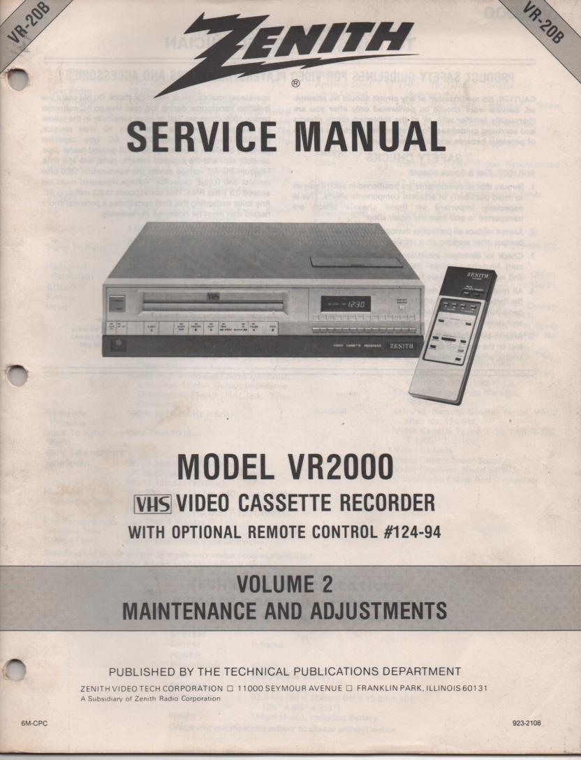 VR2000 VCR Alignment Service Manual VR20B
