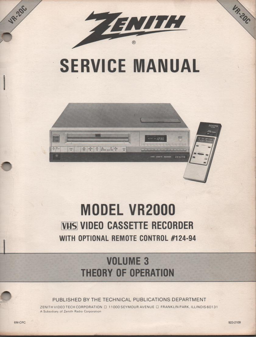 VR2000 VCR Theory of Operation Technical Service Manual VR20C  This is not an owners manual..