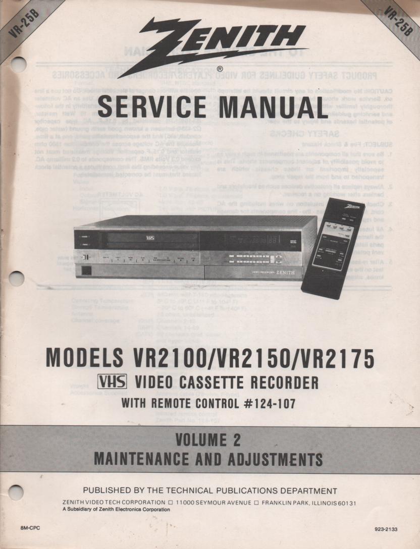 VR2100 VR2150 VR2175 VCR Alignment Service Manual VR25B