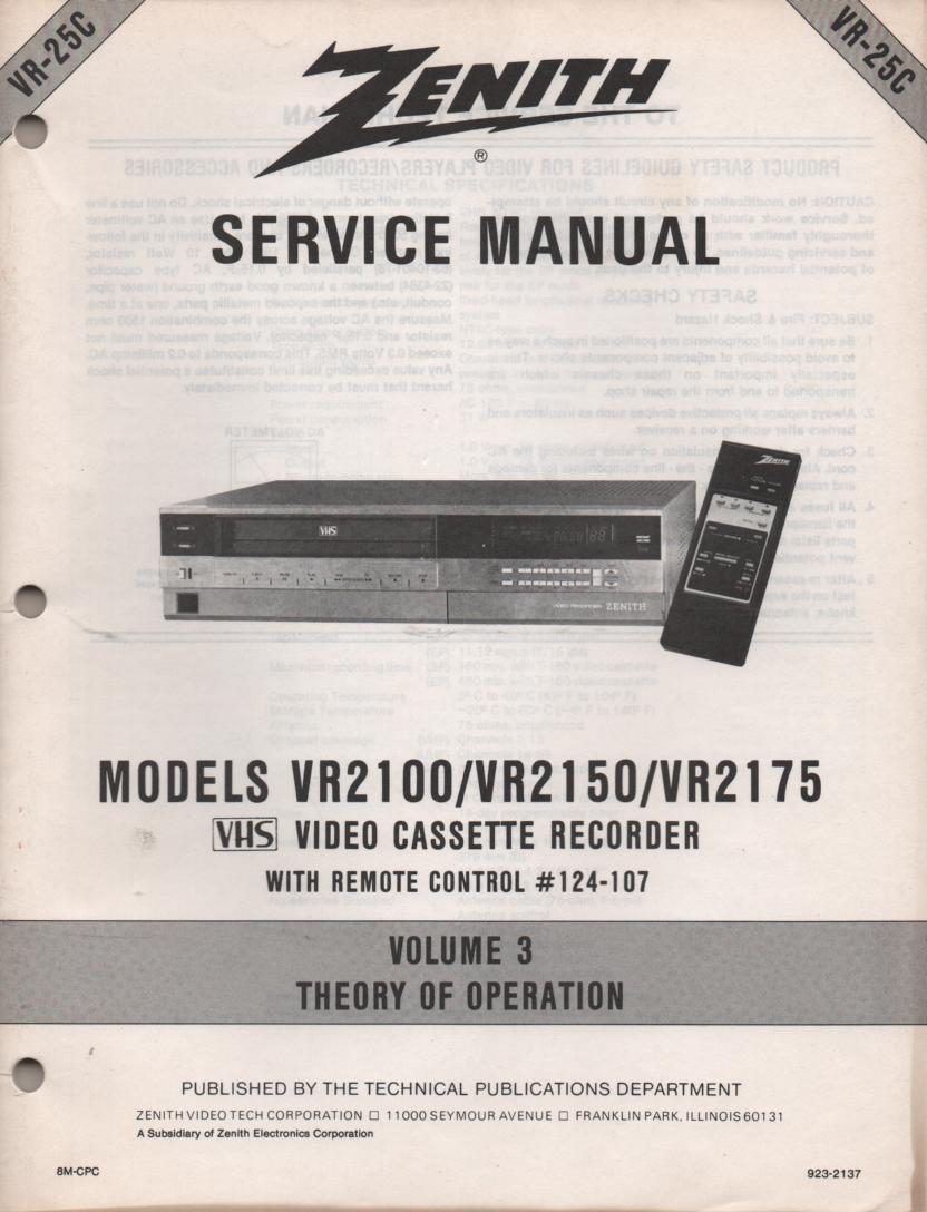 VR2100 VR2150 VR2175 VCR Theory of Operation Technical Service Manual VR25C. This is not an owners manual..