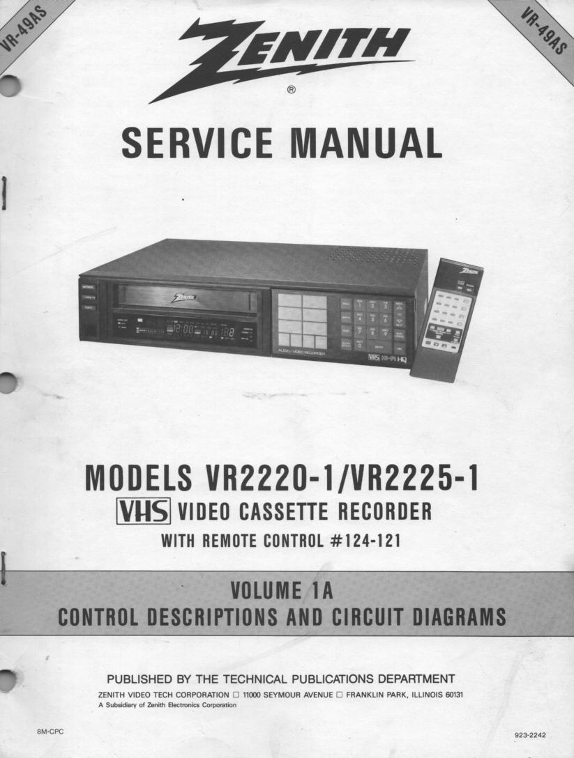 VR2220-1 VR2225-1 VCR Control Descriptions Service Diagram Manual VR49AS