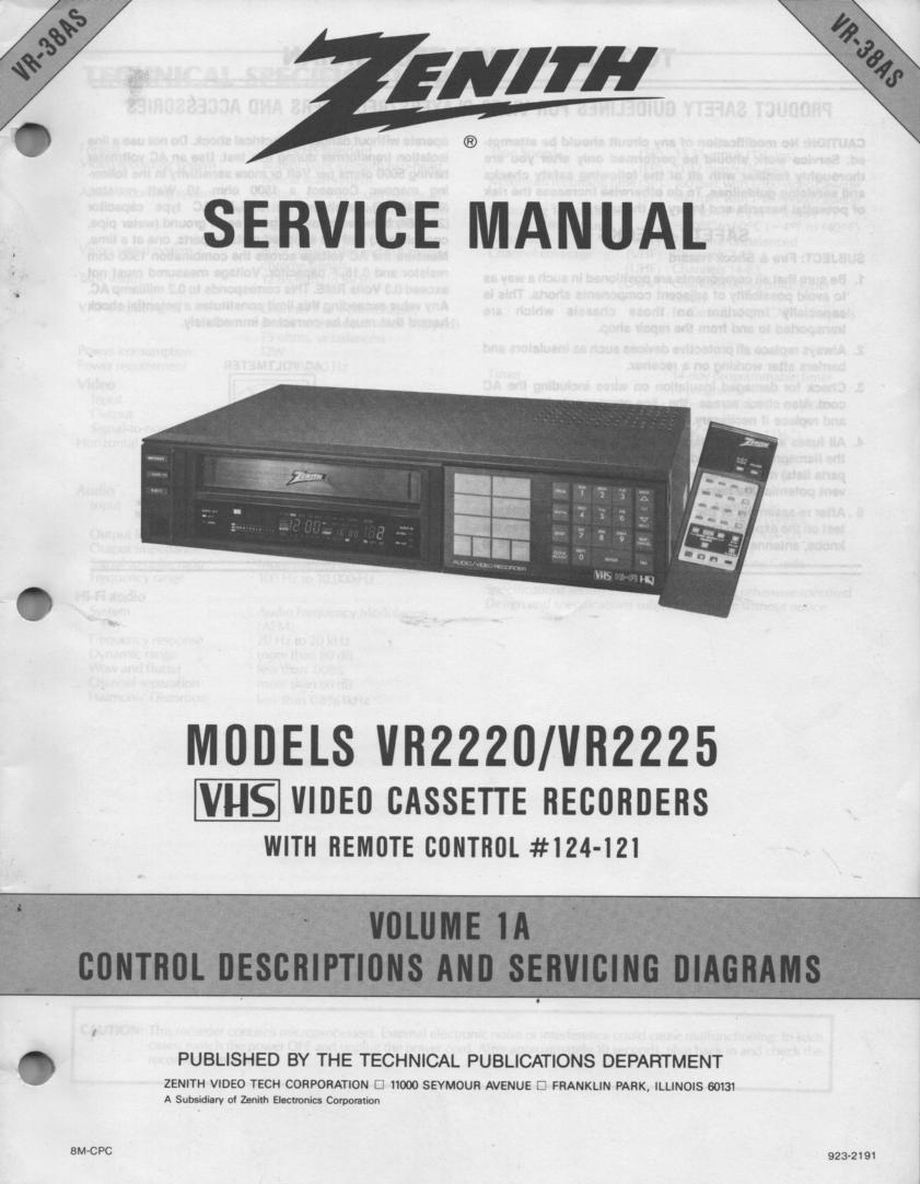 VR2220 VR2225 VCR Control Descriptions Service Diagram Manual VR38AS